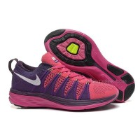 Nike Flyknit Lunar 2 Womens Rose Red Purple Dark Grey Running Shoes