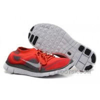 Nike Free 5.0 Flyknit Womens Running Shoes Red Grey For Sale