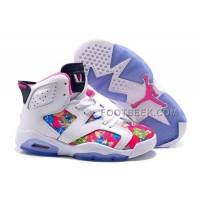 Womens Air JD 6 GS Floral Print Custom White Pink Blue For Sale