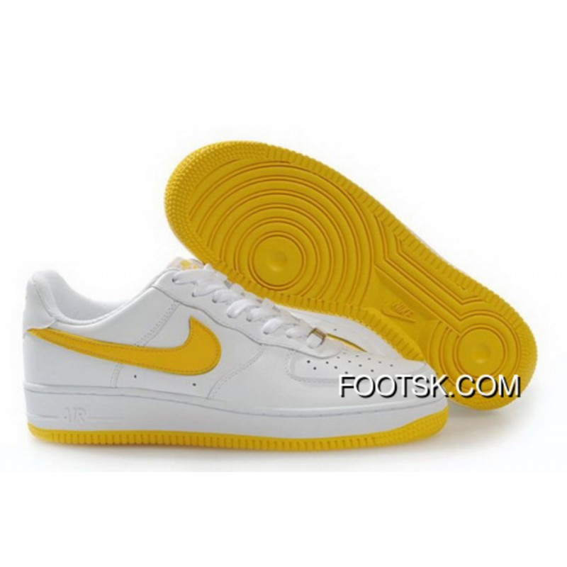best website bb258 129e8 Women's Nike Air Force 1 Low Shoes White/Yellow Discount