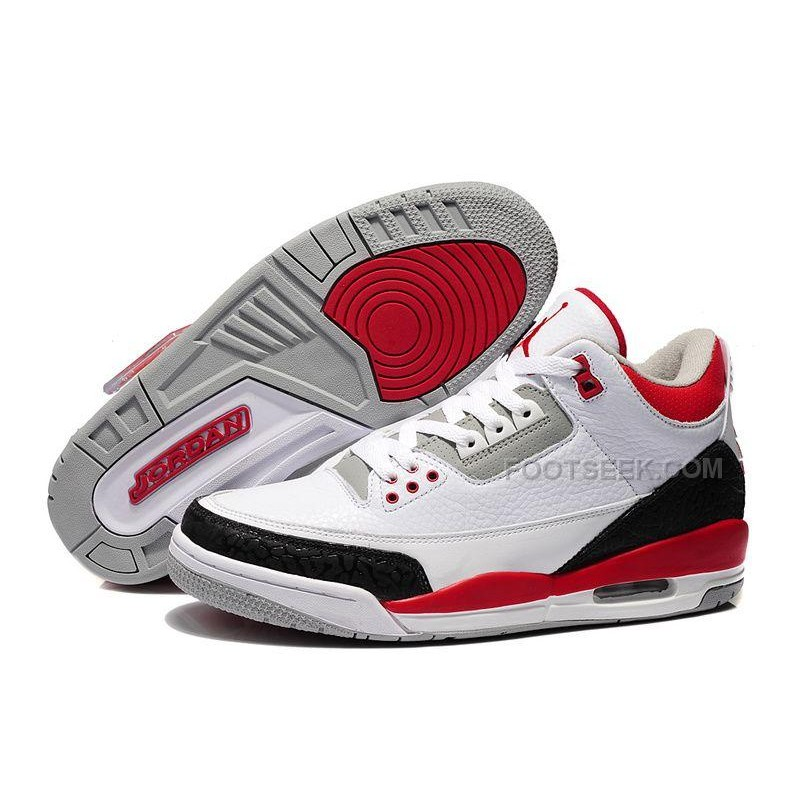 premium selection 937b7 94eaf Nike Basketball Shoes Air Jordan 3 Retro White Fire Red-Cement Grey ...