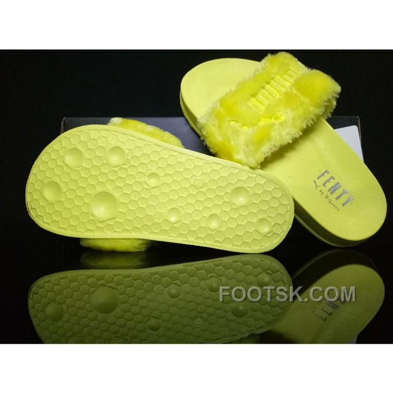 uk availability dc212 69d95 For Sale PUMA BY RIHANNA LEADCAT FENTY FUR SLIDE Yellow