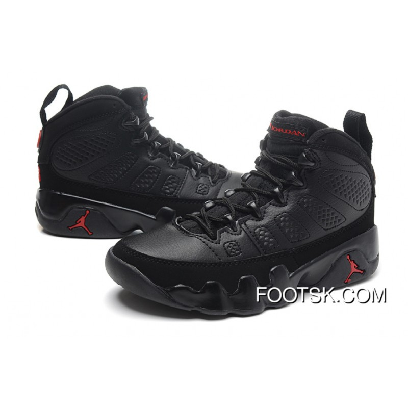 d9e7837c3e256 Girls Air Jordan 9 Retro Black Dark Charcoal-Varsity Red Online ...