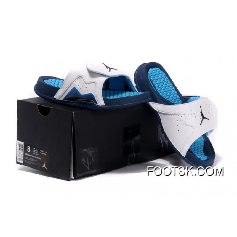 75518f2feb7 Jordan Hydro 7 Retro French Blue White Slide Sandals Free Shipping ...