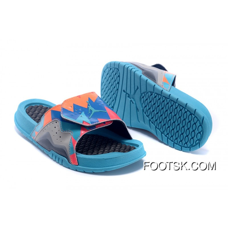 save off 82188 a2f0b Jordan Hydro 7 Retro Dark Grey Turquoise Blue-Total Orange Slide Sandals  New Style