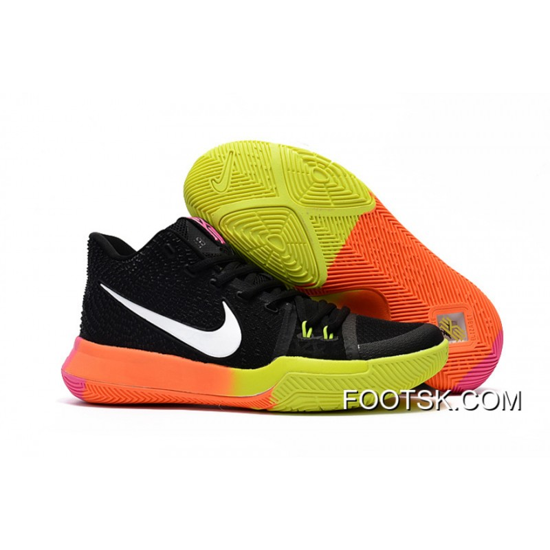 info for d630e fa86d Girls Nike Kyrie 3 Black Colorful Volt Orange Pink New Style