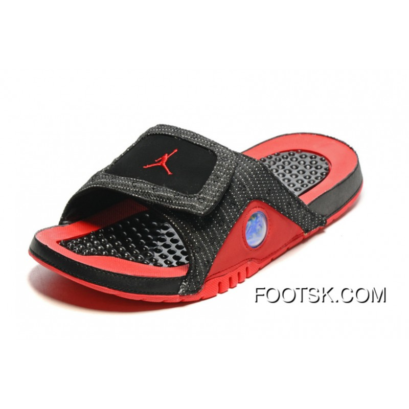 e7111473d1903 Authentic Air Jordan Hydro 13 Slide Sandals Black Red 2016