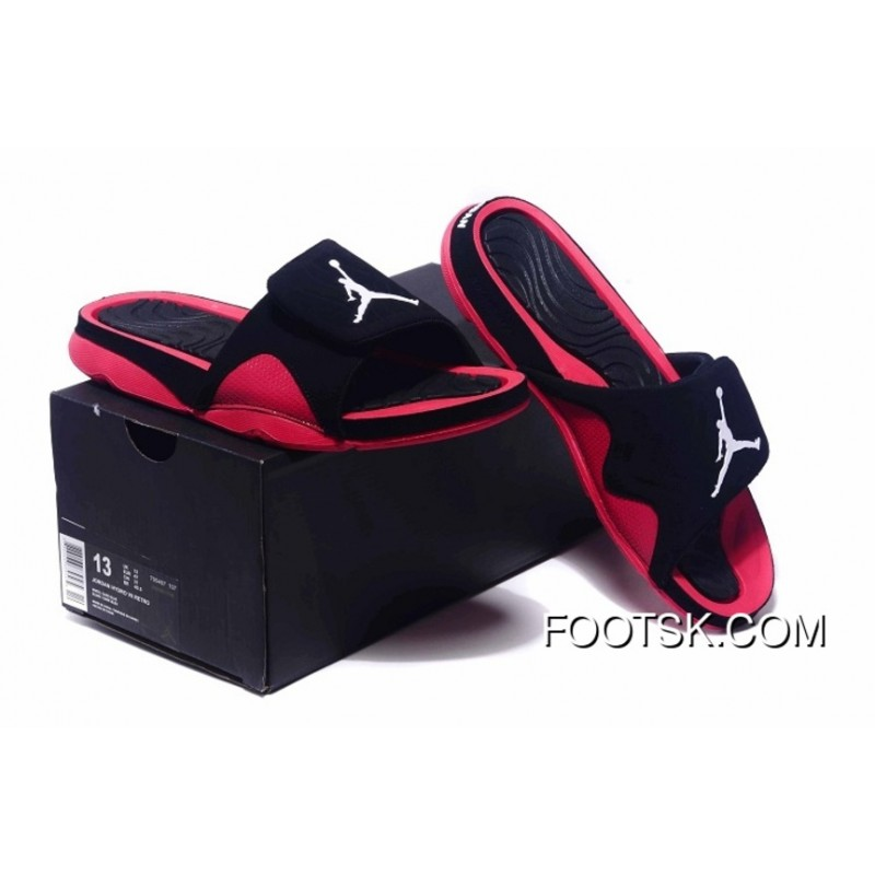 a8b651ec8 Jordan 4 Hydro Sandals 2016 Summer Black And Red New Style ...