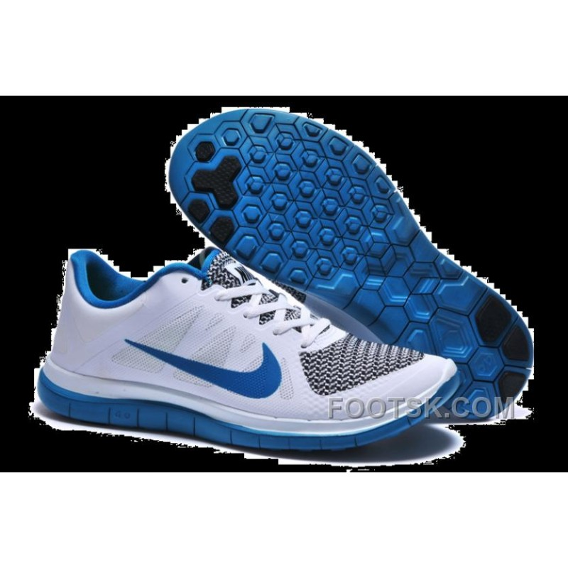 Mens Nike Free 4.0 V4 White Blue Running Shoes Super Deals
