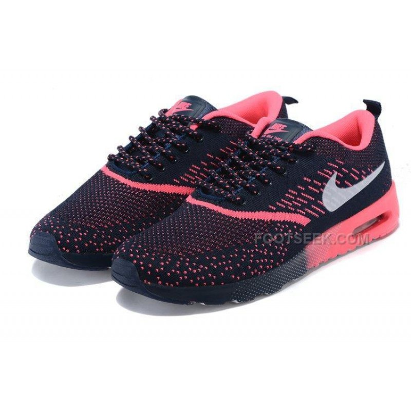 check out 447d5 88477 Nike Air Max 87 Thea Flyknit Womens Shoes Running Shoes Dark Blue  Watermelon Red