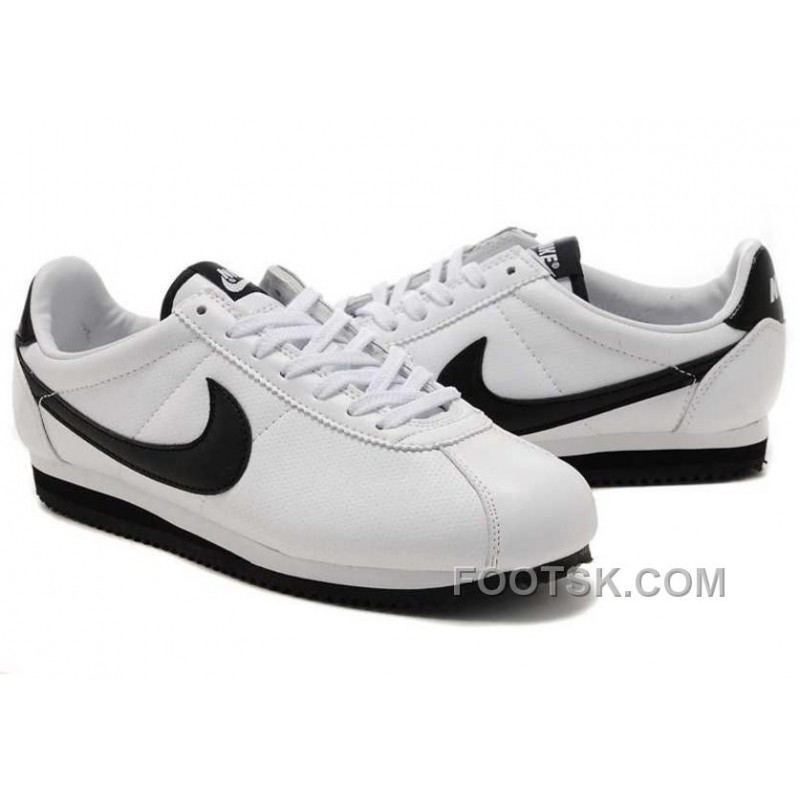 low priced 1b2c7 02fa1 Discount Nike Cortez Leather Men Shoes White Black