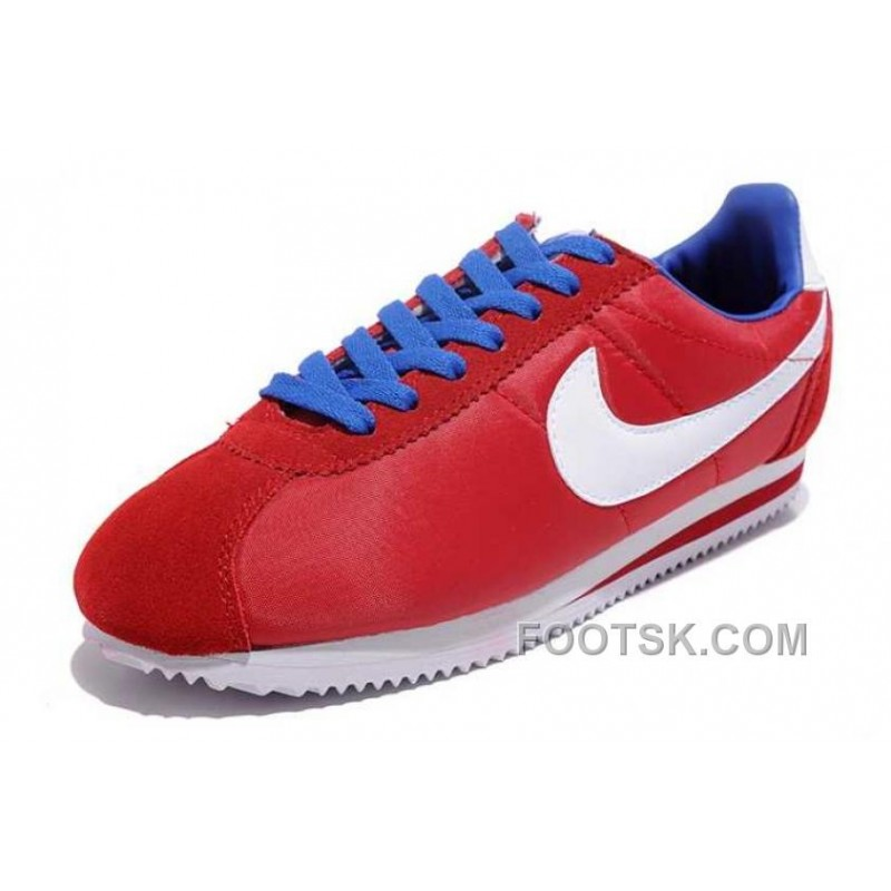 reputable site ce2c1 b1201 Authentic Nike Classic Cortez Nylon Mens Red White Blue