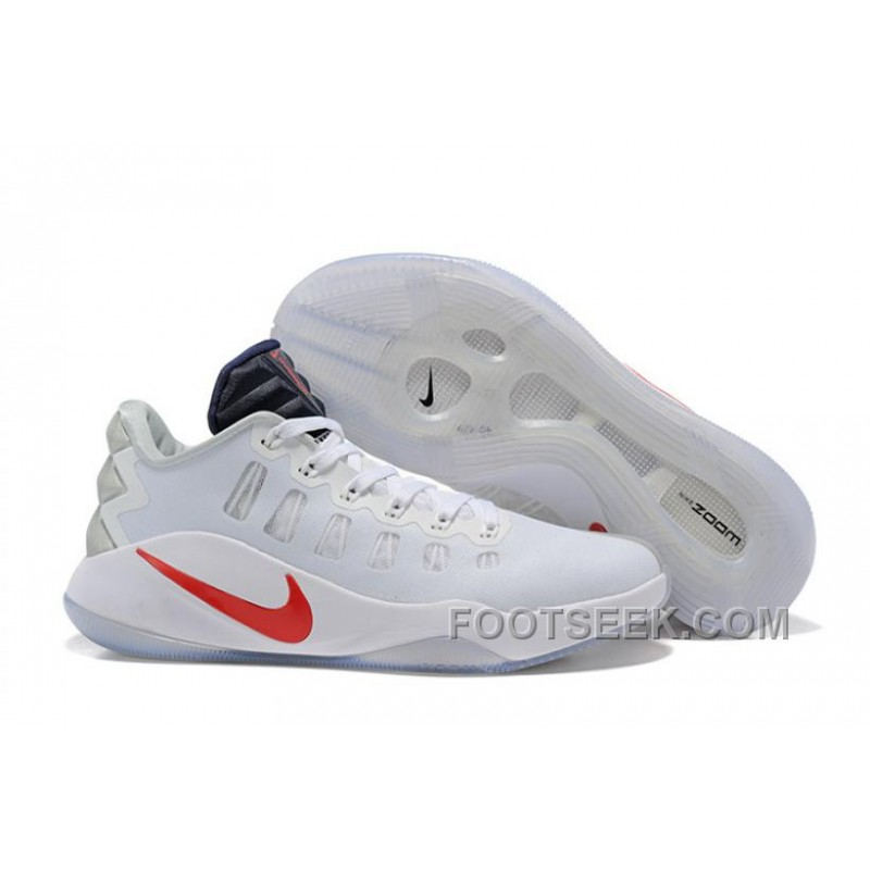 443e5d830bb1 Nike Hyperdunk 2016 Low White Red Men Basketball Shoes New Release ...
