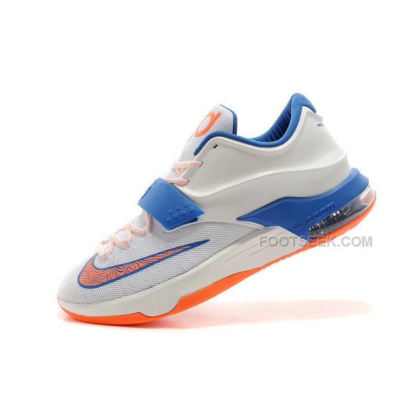 "low priced b74cf 2b95b For Sale Nike KD 7 (VII) ""Home"" Custom White/Photo Blue-Team Orange  Discount Online"