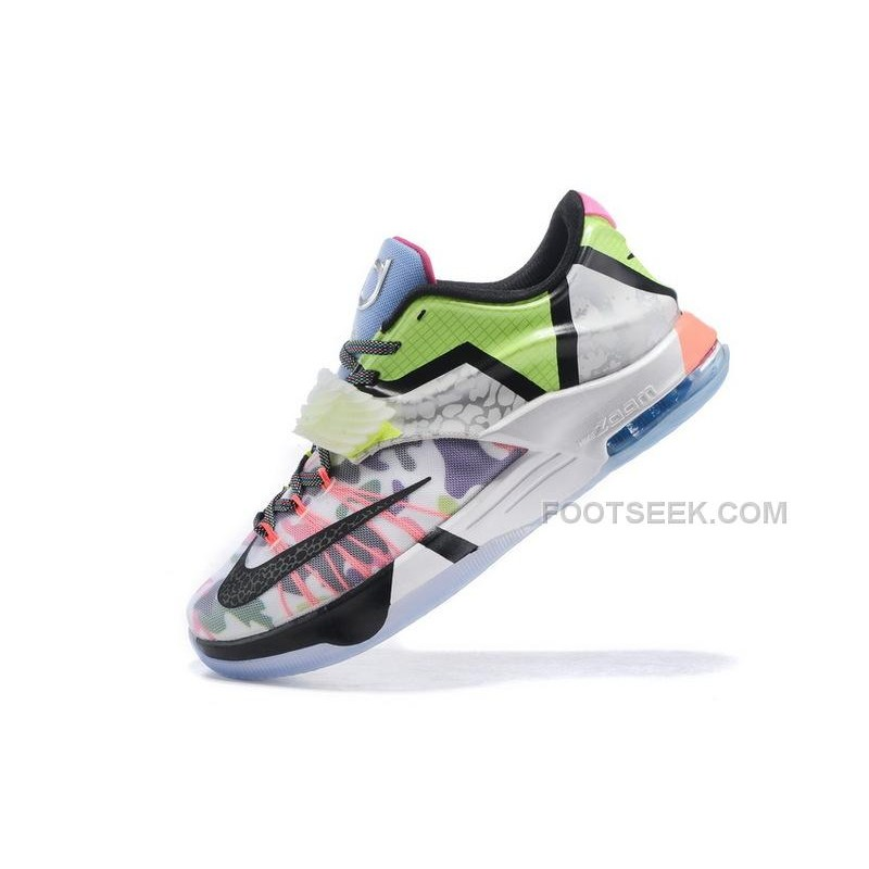 official photos 95fa9 85cce KD7 What The Staying true to the concept, the shoe mixes various colors,  prints and style cues from KD colorways of the past. The photos also reveal  that ...