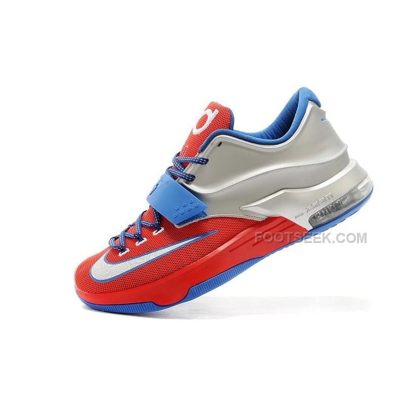on sale 09355 fd3db Nike KD 7 Custom University Red Metallic Silver-Royal Blue For Sale  Discount Online ...