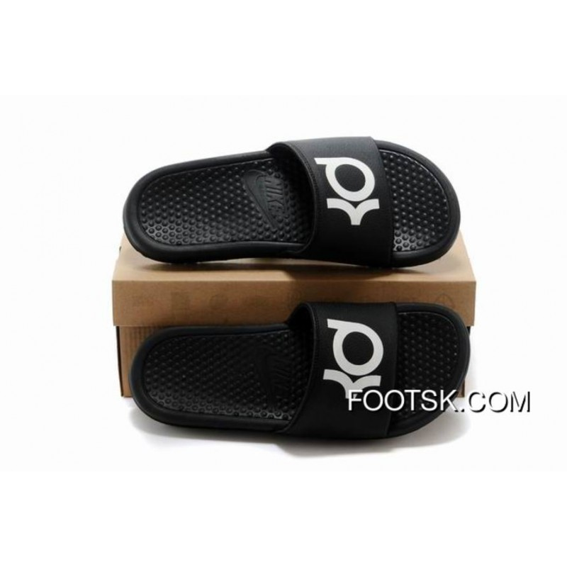 7df6fe187b364 Nike KD Black White Slippers For Sale