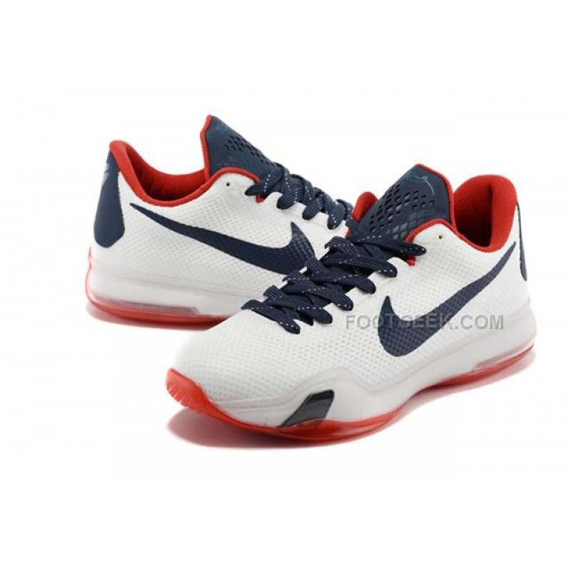 ... Nike Kobe 10 PE University of Connecticut White Red Dark Blue Shoes ...