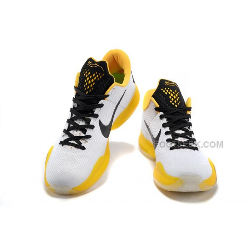 new product 54cff 5c5dc Nike Kobe 10 White/Yellow-Black, Price: $99.65 - Discount AUTHENTIC ...
