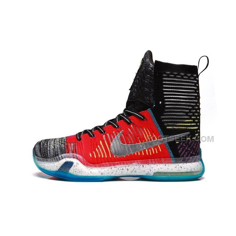 "2f99634ae4ec This is the ""What The"" edition of the Nike Kobe X Elite High. They come in  a multi-color and reflective silver colorway. The shoes feature a Flyknit  upper ..."