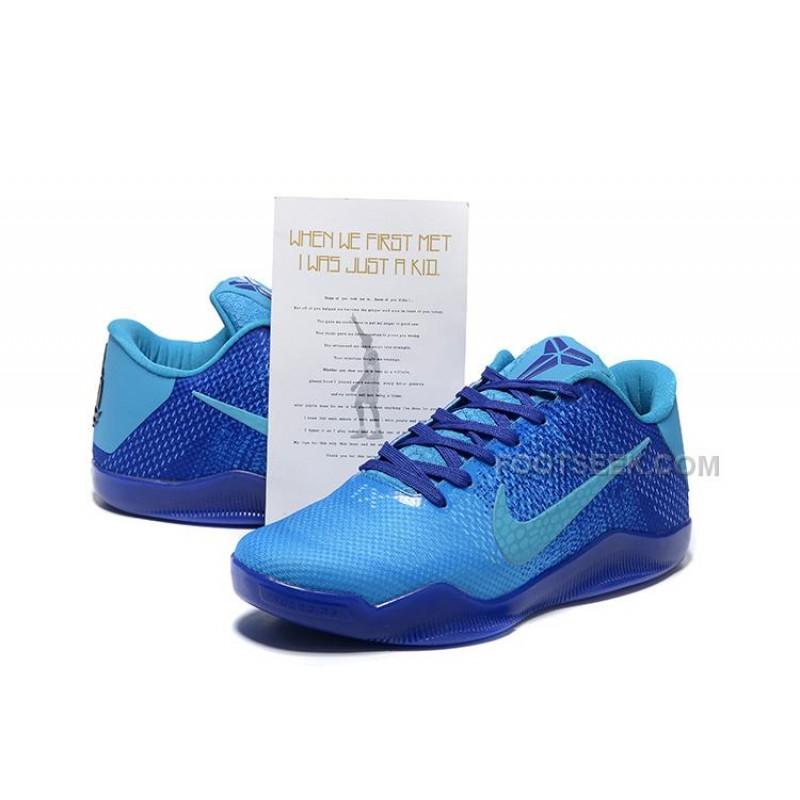half off 5b71d 21bef Nike Kobe 11 Low Full Blue Mens Basketball Shoes For Sale New