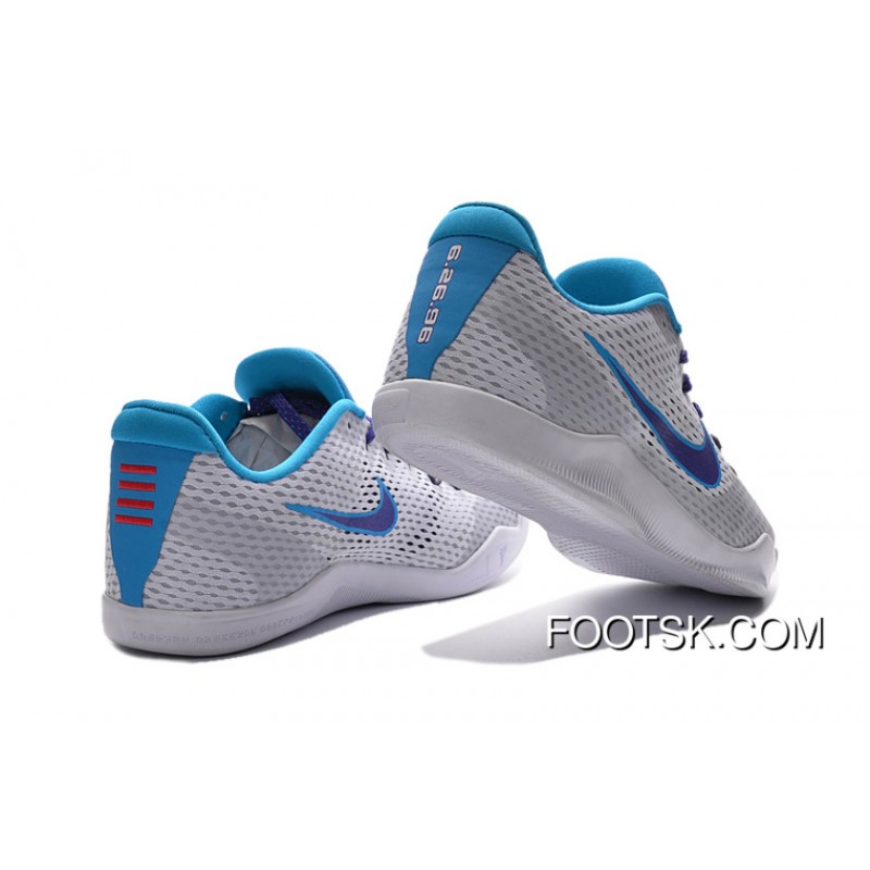 "Nike Kobe 11 ""Draft Day"" White/Blue Lagoon-Court Purple 2016 Super Deals"