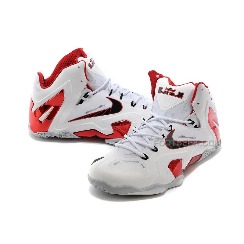 """new arrival d5074 4f5df ... New Nike LeBron 11 Elite """"Home"""" PE White-Red Wolf Grey For ..."""