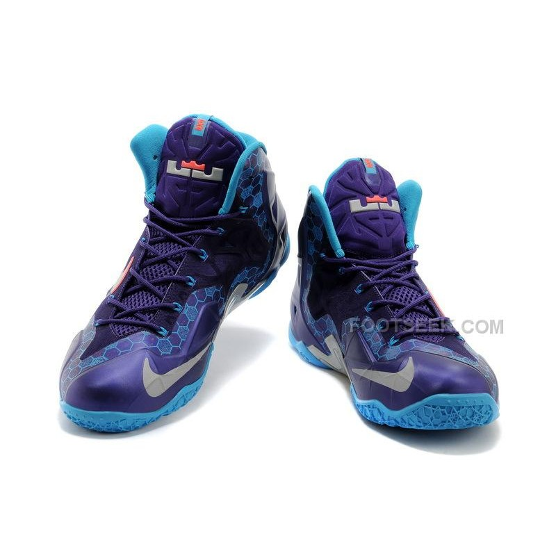 "buy popular ee43a b33ee ... Nike LeBron 11 ""Hornets"" Court Purple/Reflective Silver-Vivid Blue Sale  Online ..."