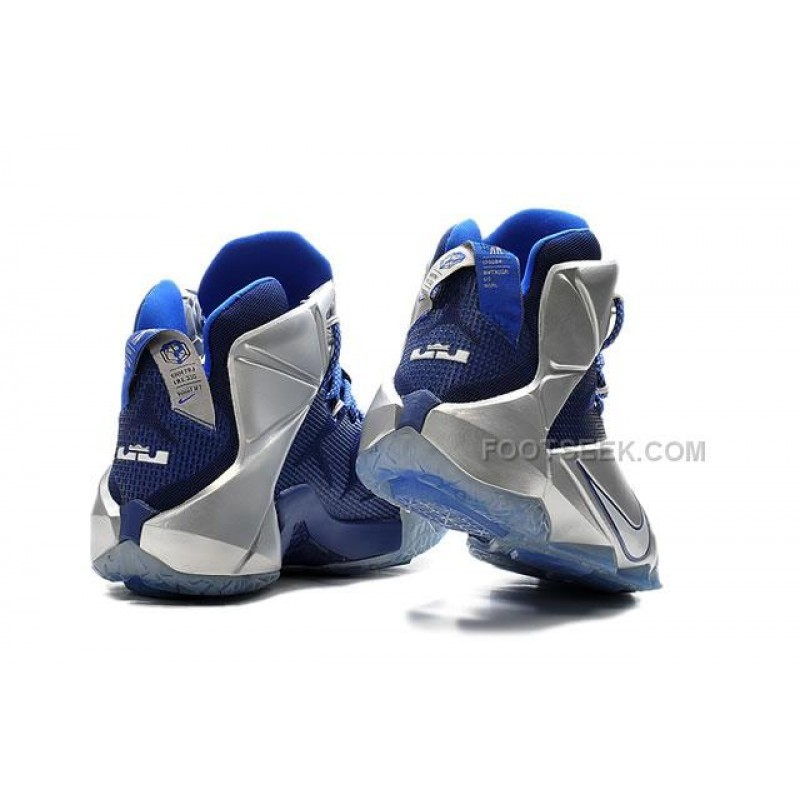 sale retailer 74390 f7841 Lebron 12 Blue Silver Nike Zoom Lebron 12 Blue Silver Original Shoes