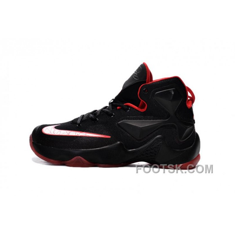 new concept 0670b d9358 Free Shipping Nike LeBron 13 Black Red Grade School Shoes
