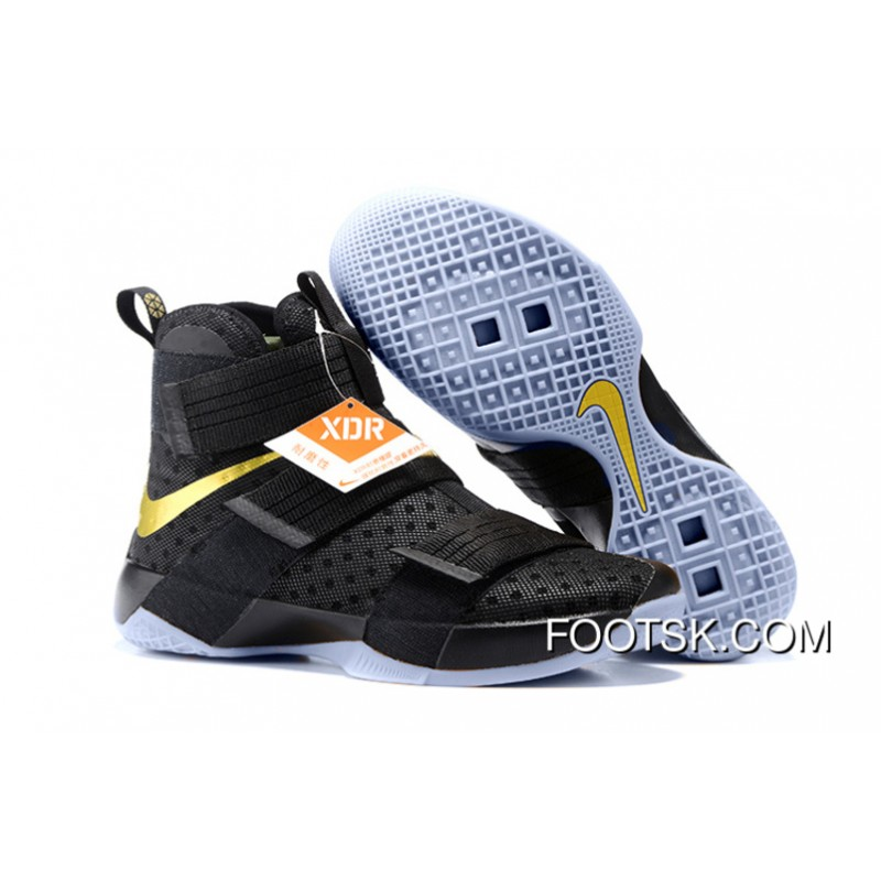 on sale 2c822 b87f2 Nike LeBron Soldier 10 Finals ID. Black Gold New Style Dcfjnm ...