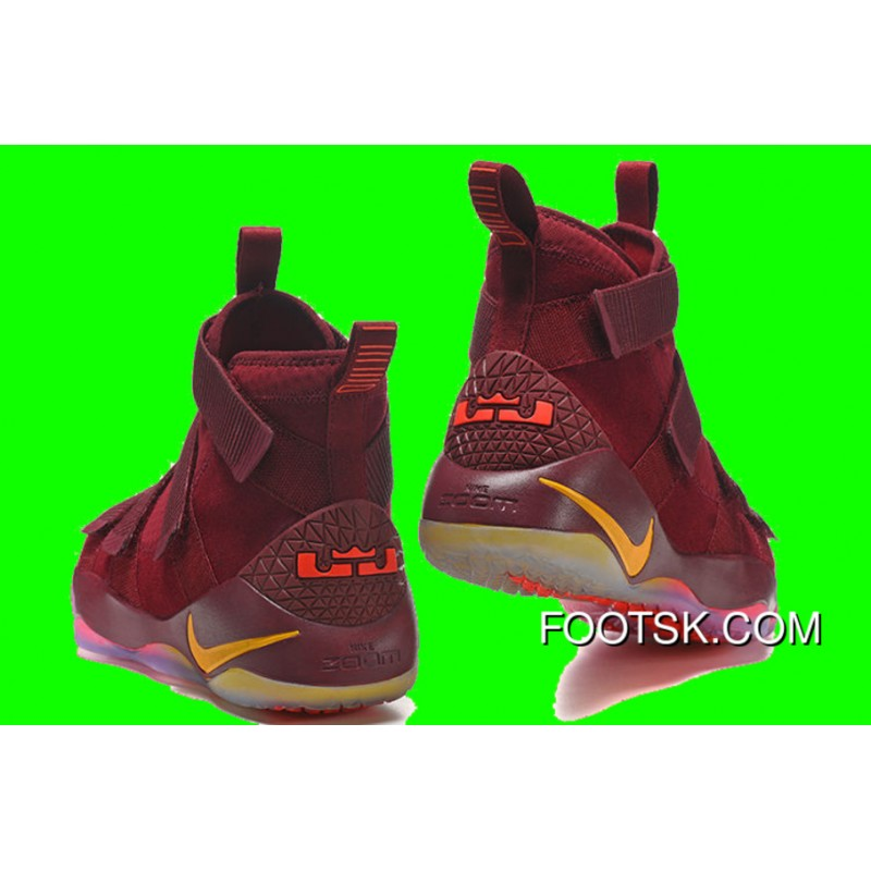 """buy online 7314f 7babc Cheap Nike LeBron Soldier 11 """"Cavs"""" PE Red Yellow Sale Best HiSh78"""