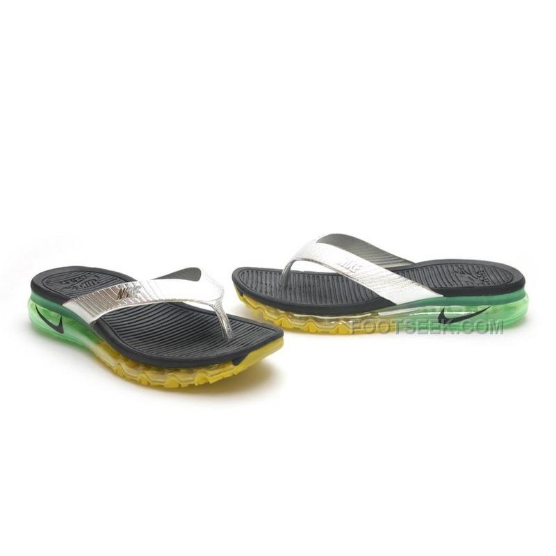 Nike Air Max 2015 Slide Sandals Flip Flops Slipper Black Silver Yellow Green Sale