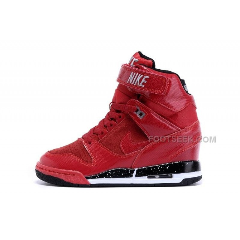 buy popular e7fd0 ed13c Nike Wmns Air Revolution Sky Hi Shoes Hidden Heel All Red Silver With Black  Bottom Discount