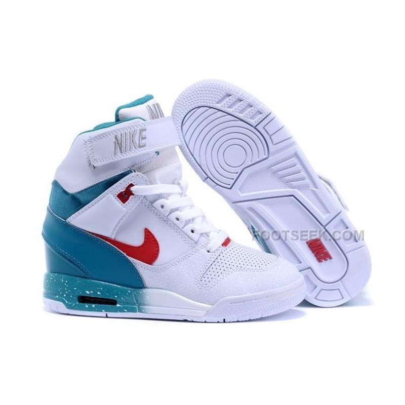 the best attitude b5999 71b29 For Sale Nike Women Air Revolution Sky Hi Elevator Shoes Red White  Turquoise Silver ...