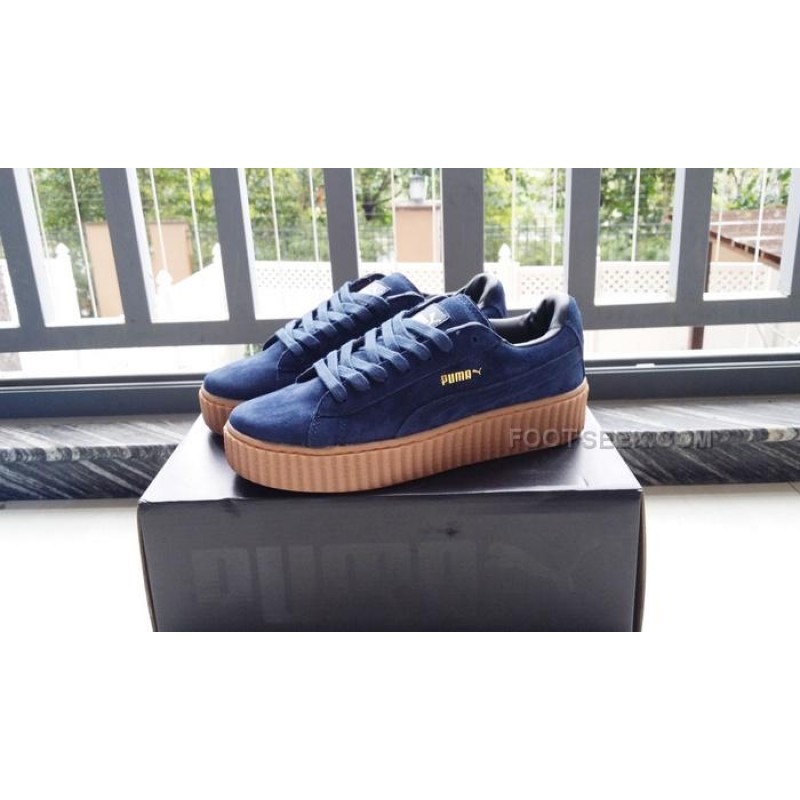 outlet store 12120 54641 Puma Rihanna suede creepers Blue