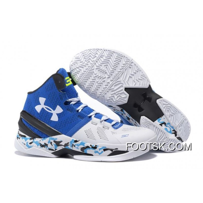 """brand new d562f 712ce """"Camo"""" Under Armour Curry 2 White Blue Black New Style FknD5D5"""