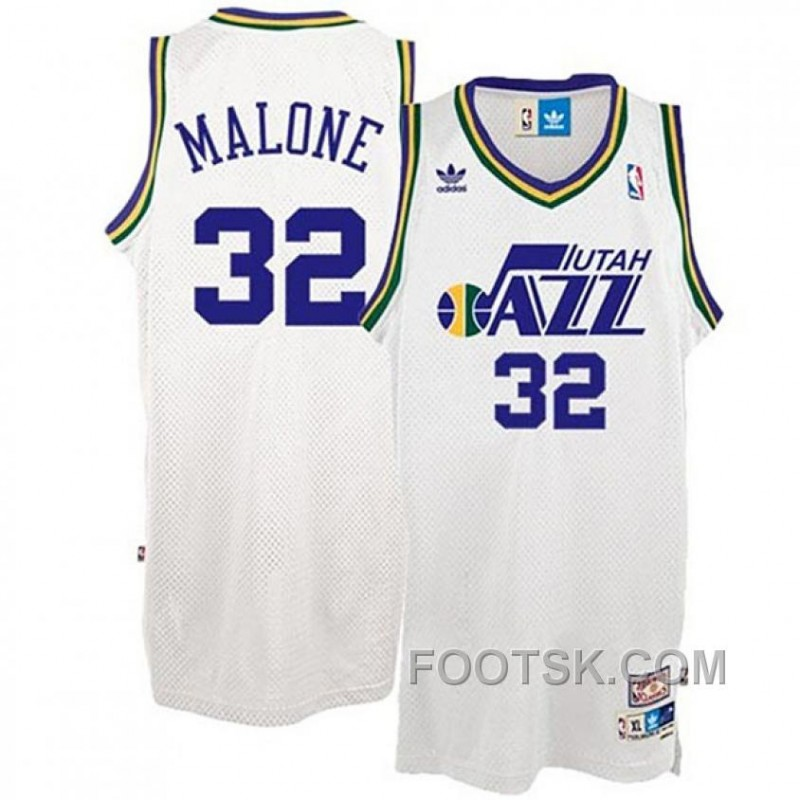 Karl Malone Utah Jazz #32 White Hardwood Classics Swingman Throwback Jersey Top Deals