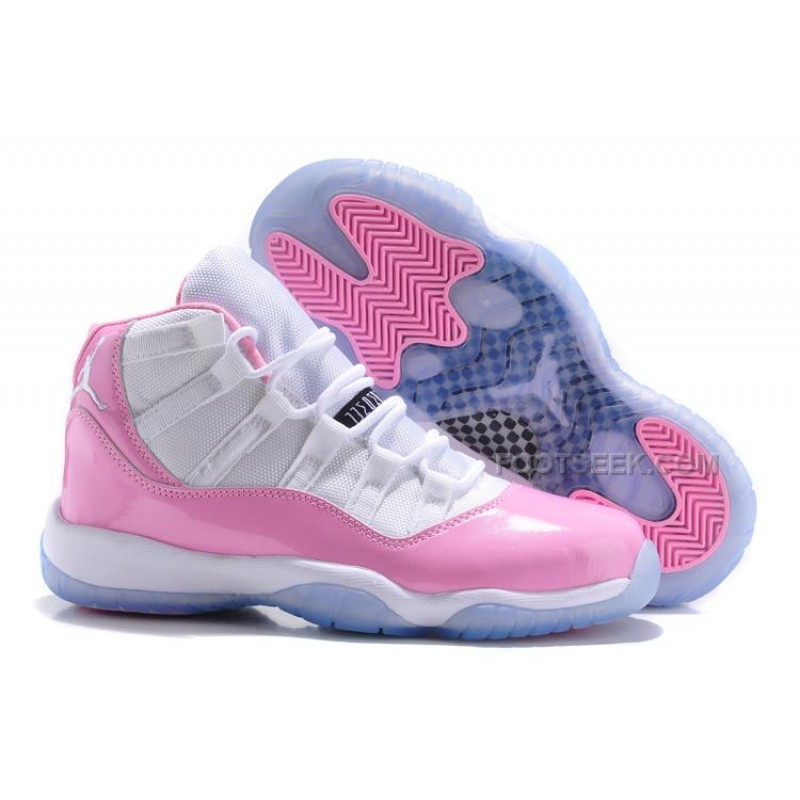 Air Jordan 11s Pink and White icy blue