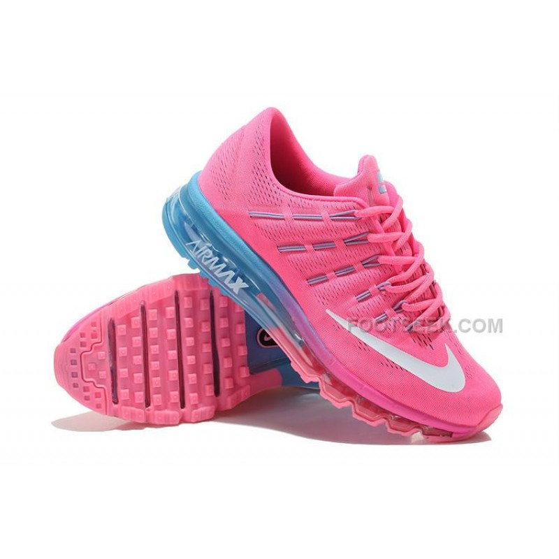 best loved 6d4eb 02dcc ... Womens Nike Air Max 2016 Running Shoes Pink Light Blue-White ...