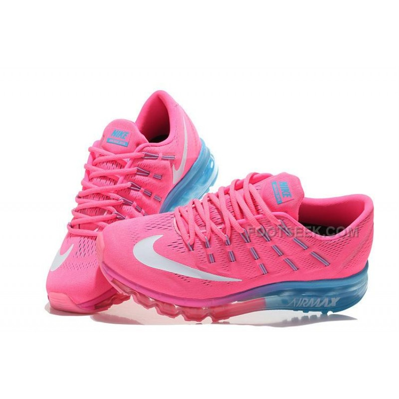 best loved 6b66f 27f80 ... Womens Nike Air Max 2016 Running Shoes Pink Light Blue-White ...